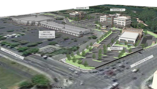 This rendering shows where the Dignity Health project would be located in relation to the Cobblestone shopping center and the Sacramento River.