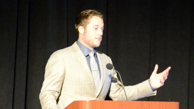 Lions QB Matthew Stafford speaks during the Lions Courage House Dinner Tuesday.
