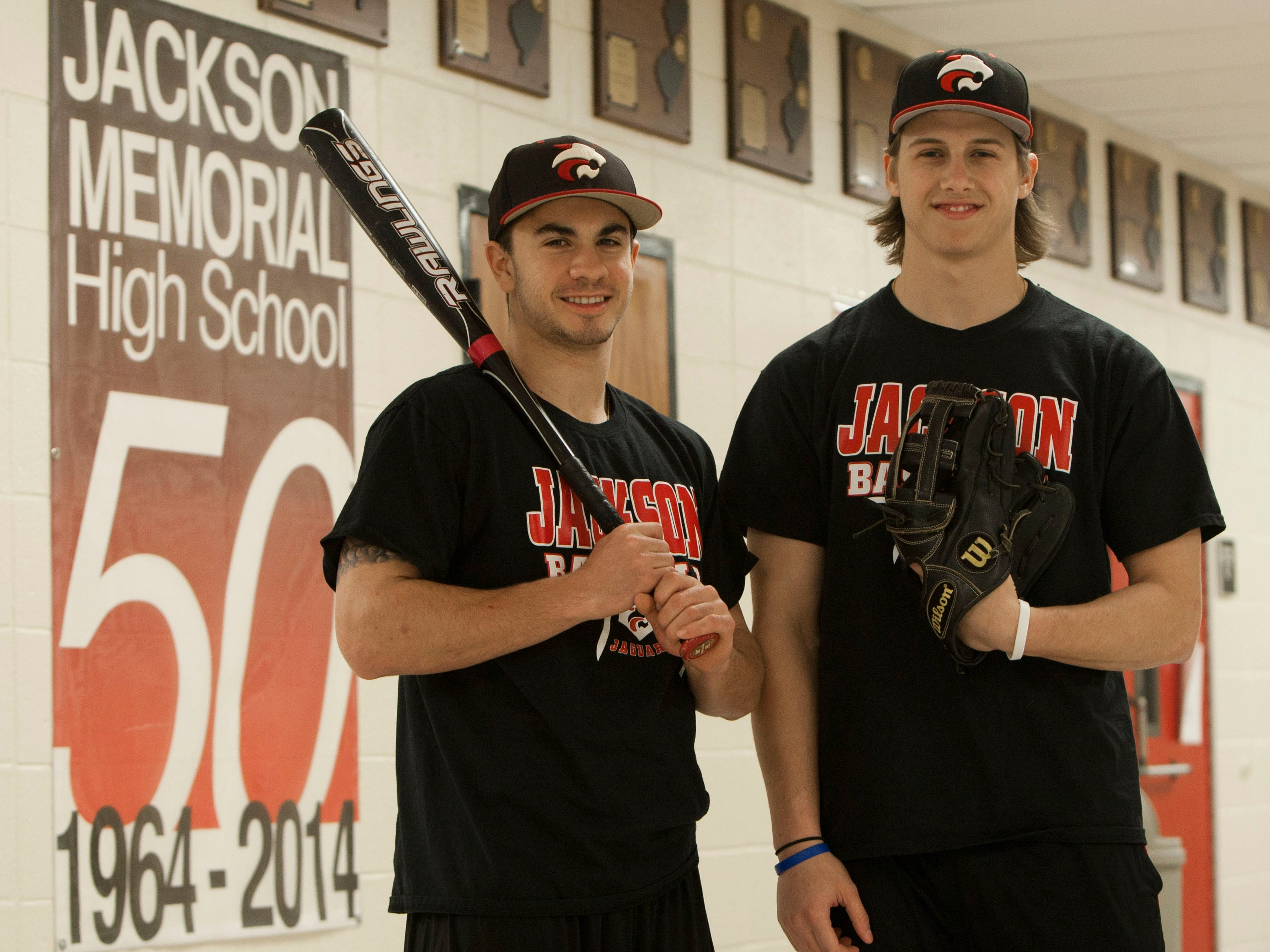 Senior shortstop/pitcherBrandon Janofsky (left) and senior center fielder Joe DeMaio (right) will be key players for Jackson Memorial as the Jaguars look to defend the NJSIAA Group IV championship