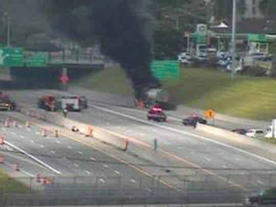 Tanker fire on southbound I-75 near Mack Ave.