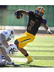 Hardin-Simmons wide receiver Alex Bell (7) tries to