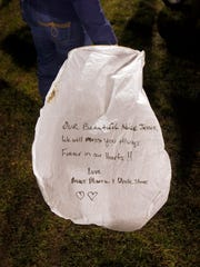 One of the sky lanterns that family and friends planned