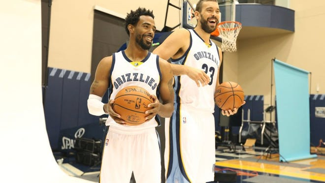 September 26, 2016 - Mike Conley and Marc Gasol share a laugh during Memphis Grizzlies media day held at FedExForum. (Nikki Boertman/The Commercial Appeal)