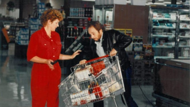Photo courtesy Holiday Market Merle Haggard helps make a television commercial for Holiday Market in Palo Cedro in the 1980s.