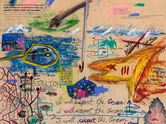 """A detail from """"I Will Respect the Ocean"""" by Martin"""