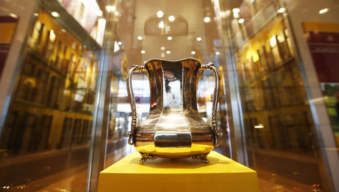 Territorial Cup on display at ASU on Monday, Nov. 17, 2014 in Tempe, AZ.