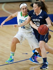Stephanie Haas makes a steal against the University of North Florida during their Atlantic Sun tournament quarterfinal game Friday at Alico Arena in Fort Myers. FGCU beat UNF 74-35.