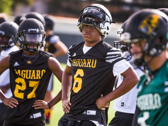 Saguaro High School wide receiver Jojo Patterson rests