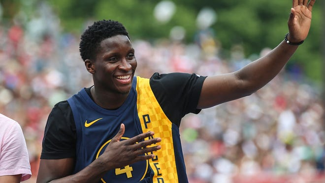 Indiana Pacer Victor Oladipo rides in the 500 Festival Parade in downtown Indianapolis, Saturday, May 26, 2018. The mid-day parade takes place a day before the Indy 500 mile race.