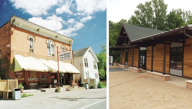The Unadilla Store & Deli, as it appeared at left in 2001, was the most visible business in town, and housed many antiques and local memorabilia that were destroyed in a fire. At right, the business, now rebuilt, is open.