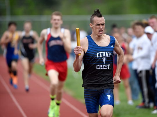 Cedar Crest's Jesse Cruise runs the final leg of the 4x800-meter relay during the 2017 Lebanon County Track and Field Meet Saturday, April 29.