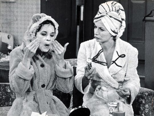 Cindy Williams, left, and Penny Marshall in a scene from their sitcom 'Laverne and Shirley' in 1977.