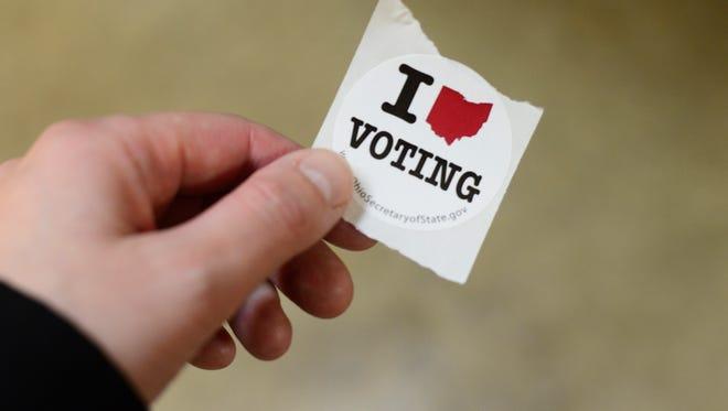 Voting sticker in Fremont.