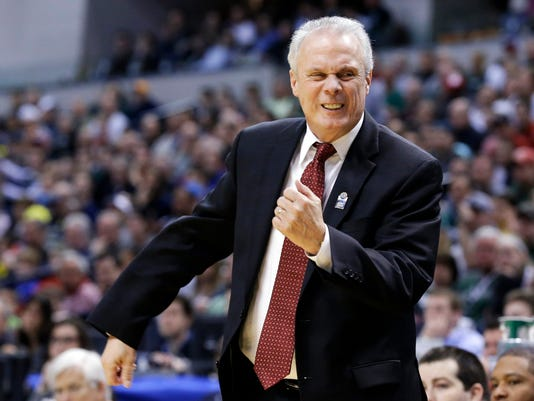 Wisconsin head coach Bo Ryan reacts to a play in the first half of an NCAA college basketball game against Michigan State in the semifinals of the Big Ten Conference tournament Saturday, March 15, 2014, in Indianapolis. (AP Photo/Michael Conroy)