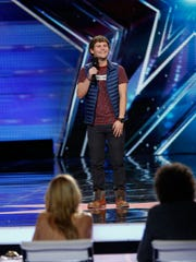 "Drew Lynch, who grew up in Indianapolis, performs at the New Jersey auditions for ""America's Got Talent."""