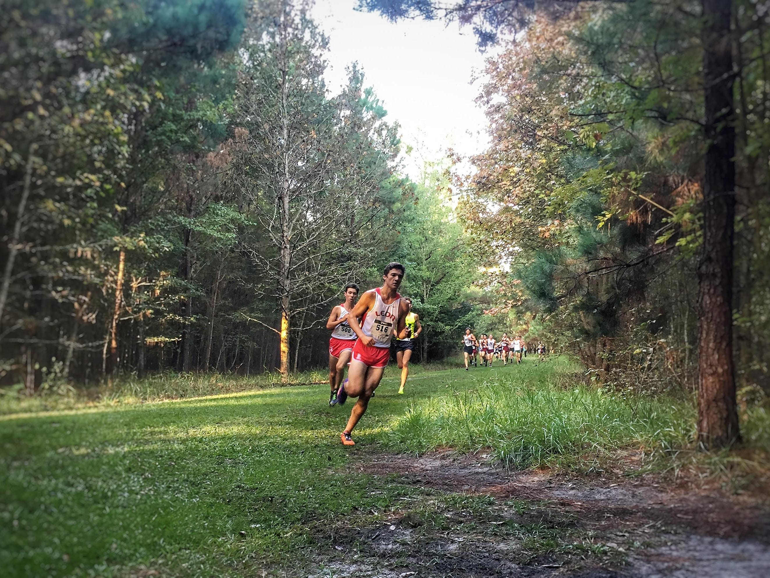 Leon senior Adam Wallenfelsz leads junior teammate Matthew Cashin into a turn on the Region 1-3A course at Alligator Lake in Lake City. Cashin was first and Wallenfelsz was third as the Lions finished fourth to advance to the state meet.