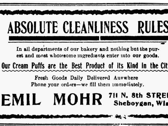 Mohr's Bakery advertisement.