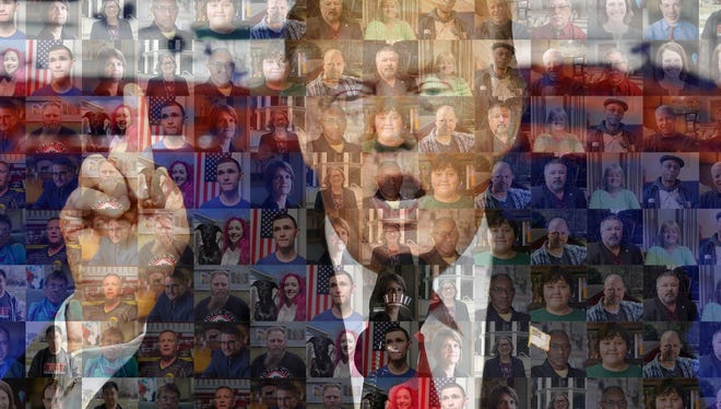 A mosaic of photos of members of the USA TODAY voter panel and President Donald Trump.