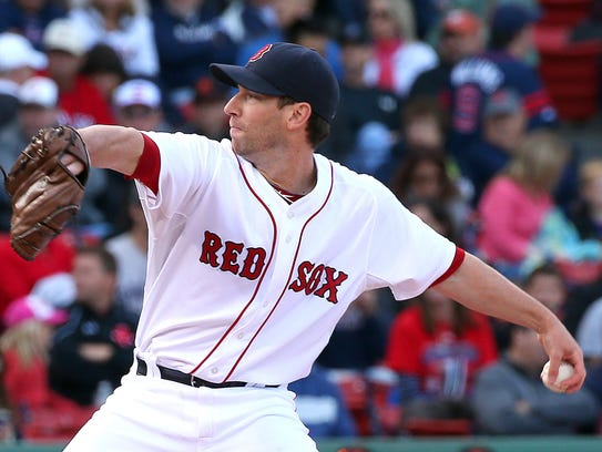 Craig Breslow of the Boston Red Sox throws against