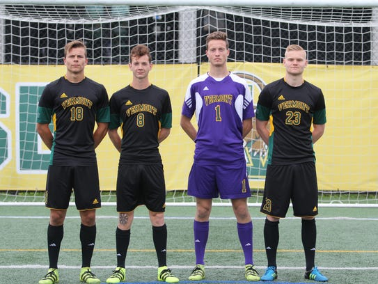 From left, Iceland natives and UVM soccer players Arnar