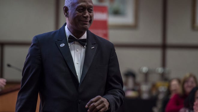 """W. J. Kimmons of Save Children Save Schools speaks on the topic of """"It Takes A Village To Raise A Child"""" during the 22nd Annual Dr. Martin Luther King Jr. Breakfast in Lingle Hall at Reid Health, Richmond, on Monday, Jan. 15, 2018."""