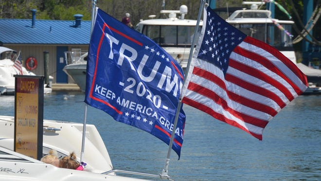 Organizers of a boat parade supporting President Donald Trump said hundreds of boaters took to Lake Macatawa Saturday, July 11.