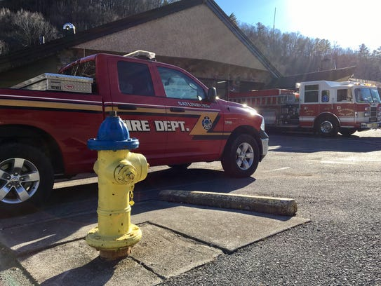A fire hydrant sits outside a Gatlinburg fire station.
