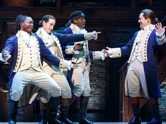 "The Chicago production of ""Hamilton,"" starring (from"