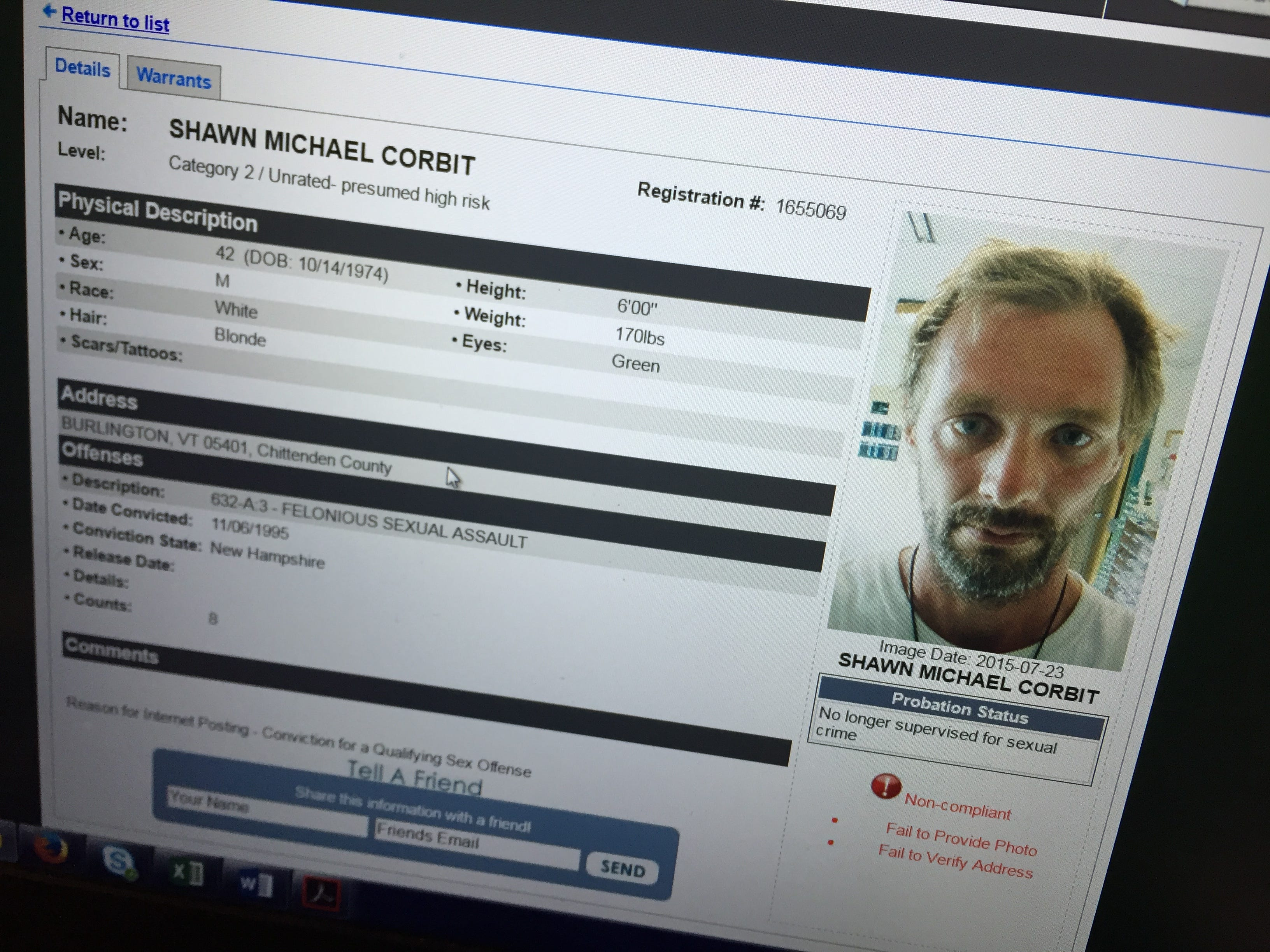vermont level two sex offender list