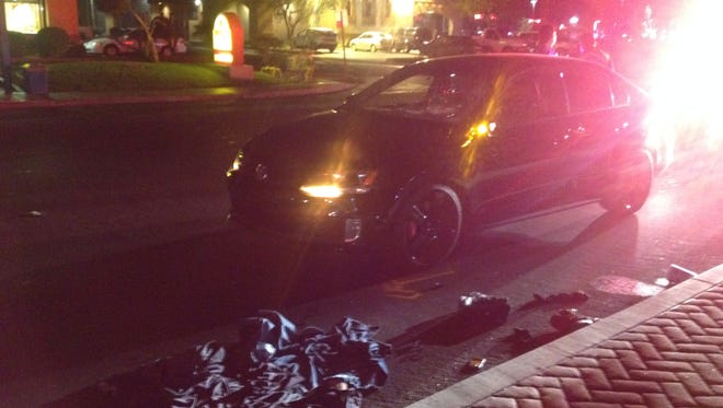 A man was seriously injured Thursday evening when a car hit him on Date Palm Drive in Cathedral City.