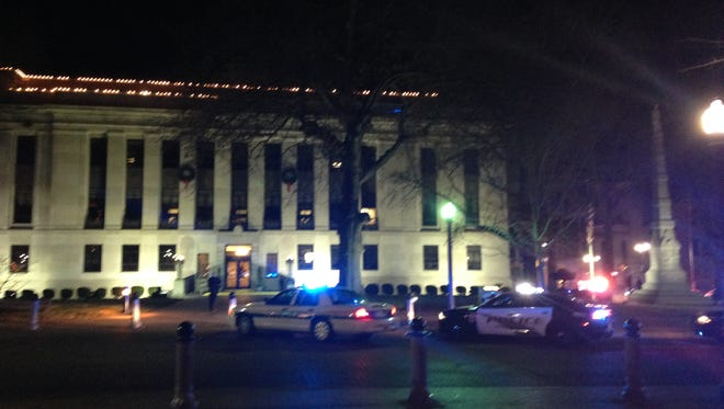 Police have surrounded the Madison County Courthouse tonight.