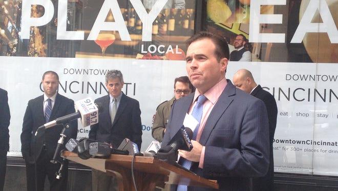 Cincinnati Mayor John Cranley speaks Monday, Dec. 15, 2014, at Fourth and Race streets, Downtown.
