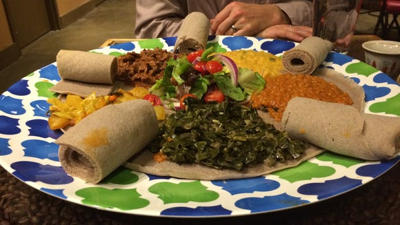 A family-style platter at Addissae, Asheville's new Ethiopian restaurant.