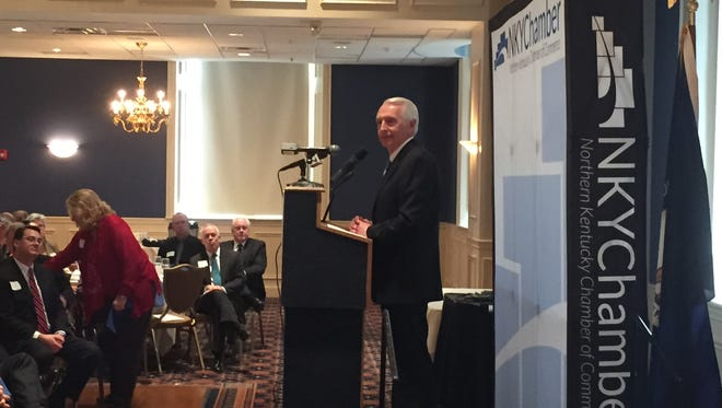 Beshear addresses the Northern Kentucky Chamber in Covington on Monday