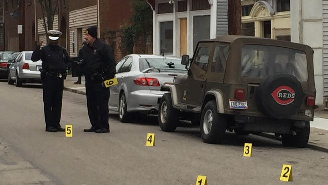 Police identify five bullet casing outside on North Edgewood street after two related shootings Sunday afternoon.