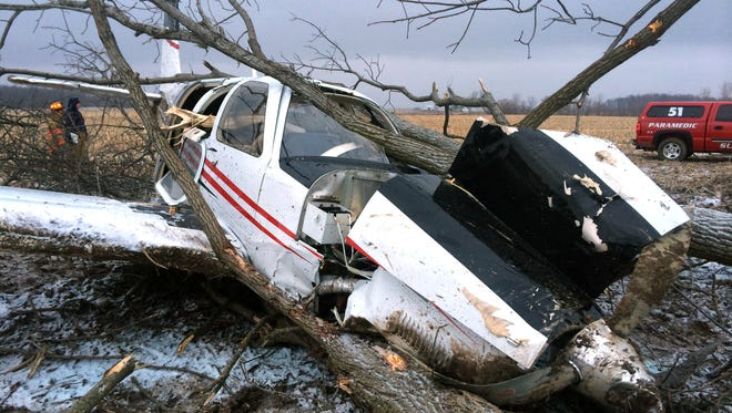 The single-engine plane that went down in Delaware County