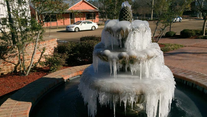 Frozen fountain in Ridgeland, Miss.