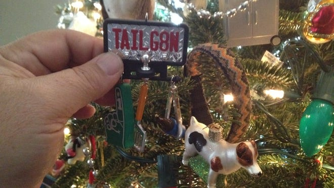 The TAILG8N ornament is one of the one's on the author's tree that carries special meaning.