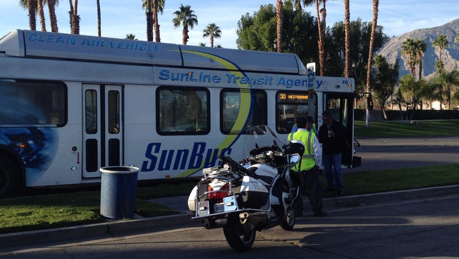 Palm Springs police responded to a collision involving a SunLine Transit Agency bus Thursday morning.