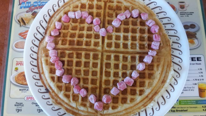 """Don't waffle on the romance this Valentine's Day, unless you're spending it at Waffle House. The chain offers a special """"Valentine's Day menu"""" at select locations. Reservations are recommended."""