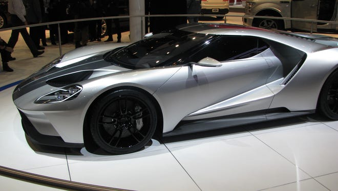 Ford's GT on display at the Chicago Auto Show -- in silver for the first time. It will be built in Canada