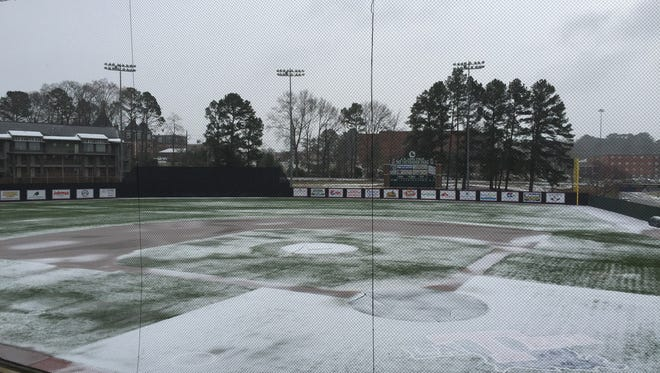 Snow and ice cover Louisiana Tech's baseball field Monday afternoon.