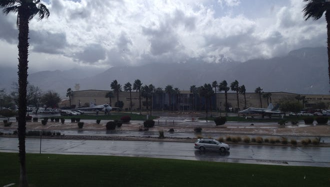 Rain is falling on parts of the Coachella Valley Monday. Rainy conditions are expected to continue on and off Monday, experts said.