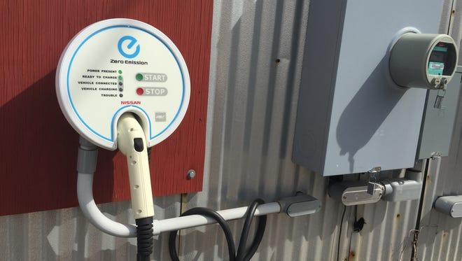 An electric car charging station at Sigora Solar in Waynesboro