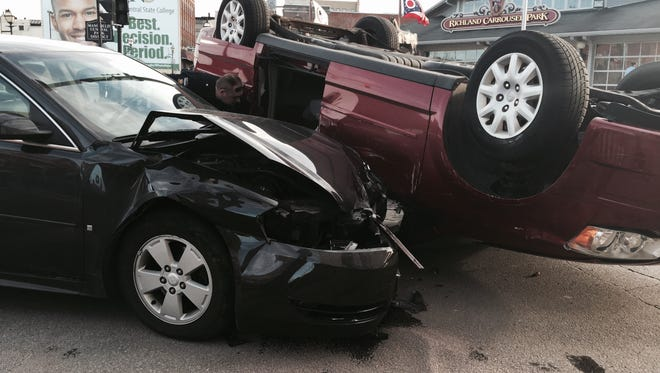 No one was seriously injured after a two-vehicle crash on Thursday evening.