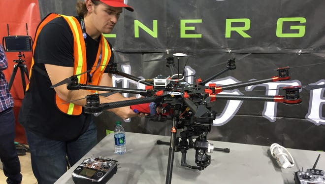 Drones invaded Lucas Oil Stadium Friday for a test with the Supercross riders