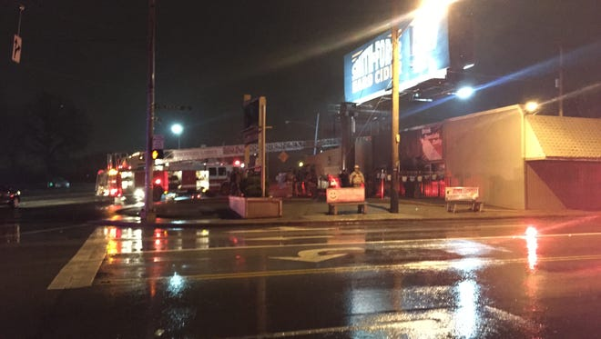 Firefighters battled a large fire at the Dynasty Lounge in Mt. Airy Sunday night.