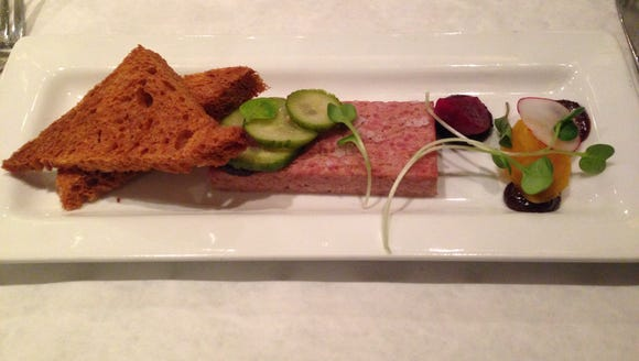 Charley G's foie gras and pork terrine, cherry onion