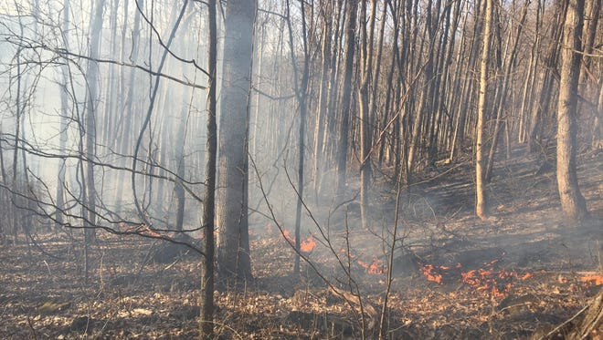 A fire was burning about 10 acres in Leicester Wednesday.