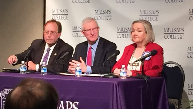 House Education Chairman John Moore, Former Gov. Ronnie Musgrove and 42 for Better Schools Communications Director Patsy Brumfield at a panel at Millsaps College on Friday.